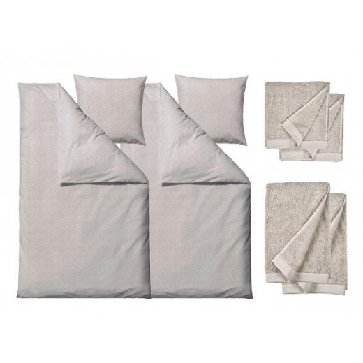 Södahl Sengetøj Chambray nature 220 cm med håndklæder, Comfort-321