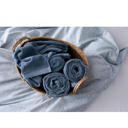 Södahl Sengetøj Chambray i blå 200 cm med Comfort håndklæder-325