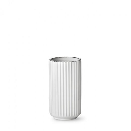 Lyngby - Hvid vase med sølvkant