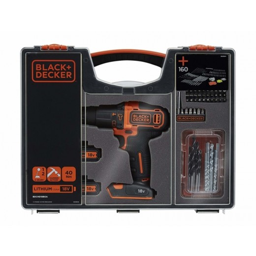 Black and Decker 18V Lithium-ion Slagboremaskine sæt 160 dele-00