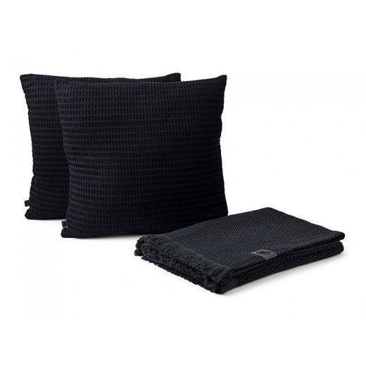 Georg Jensen Damask Weave bomuldsplaid og Black label puder, 2 stk.-03