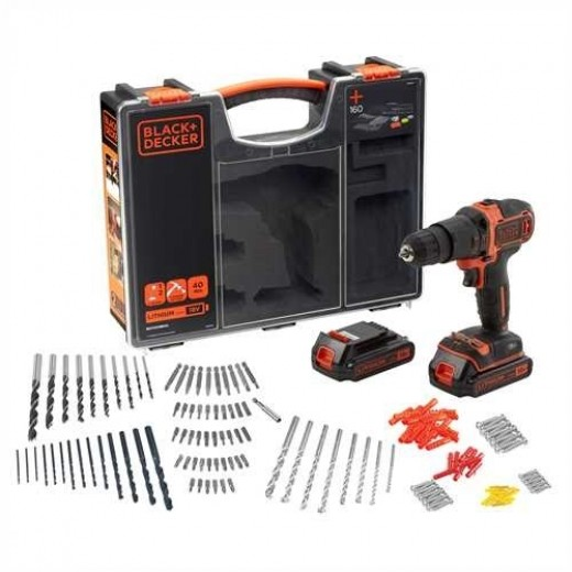 Black and Decker 18V Lithium-ion Slagboremaskine sæt 160 dele-30