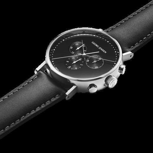 Georg Jensen Koppel Chronograph, sort urskive, sort læderrem-04