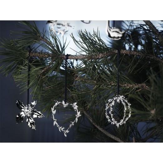 Rosendahl julepynt i sort snor - forsølvet