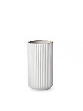 Lyngby - Hvid vase med guldkant