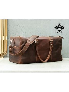 Florens Weekendtaske i læder, brun-20
