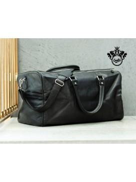 Florens Weekendtaske i læder, sort-20