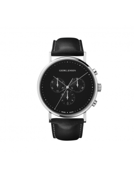 Georg Jensen Koppel Chronograph, sort urskive, sort læderrem-20